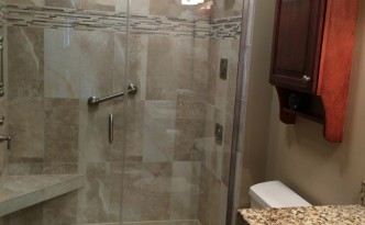glass door bathroom