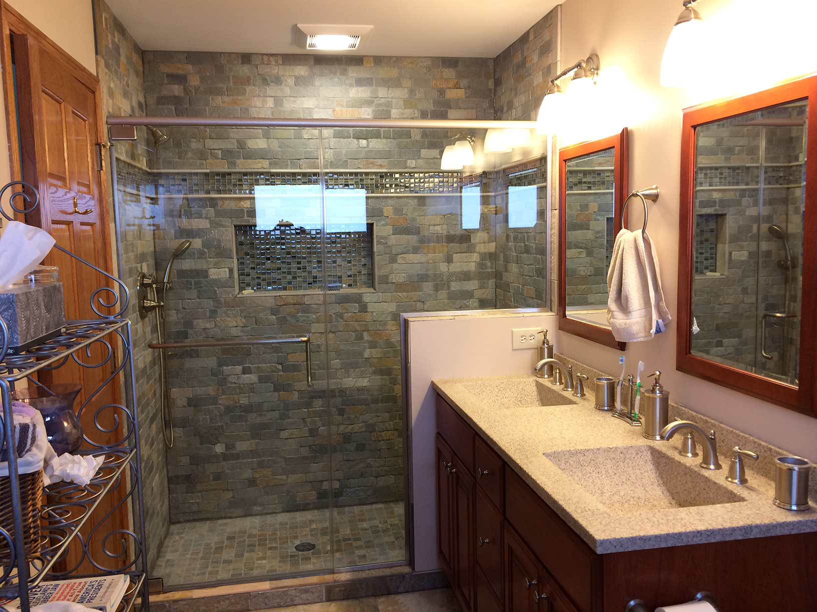 looking to really make your bathroom unique check out this beautiful brick work and tile effect for the shower minor colors in the shower help play off